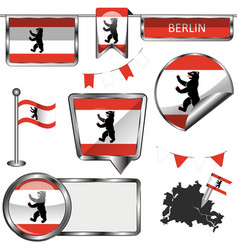 Glossy icons with flag of berlin vector