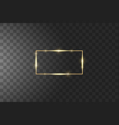 Golden frame with lights effects shining luxury vector