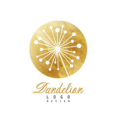 Golden logo with abstract dandelion plant medical vector