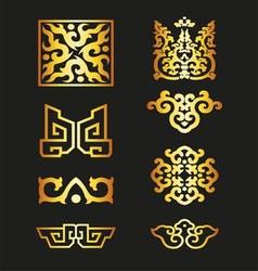 Golden Vintage Floral Elements for Your Design vector image
