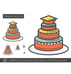 Graduation party line icon vector