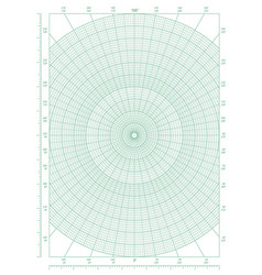 Green polar coordinate circular grid graph paper vector