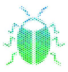 Halftone blue-green bug icon vector