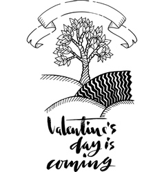 Hand drawn doodle tree with st Valentine vector