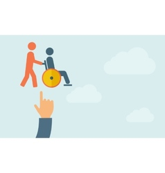 Hand pointing to a man push in wheelchair vector