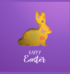 Happy easter card of paper cut spring rabbit vector