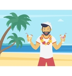 Happy young man enjoying and drinking cocktails vector