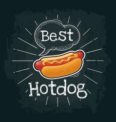 Hotdog with mustard flat vector