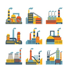 Industrial factory buildings icons set in flat vector