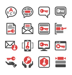 key message icon set vector image