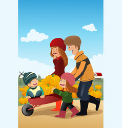Kids and their parents on a pumpkin patch vector