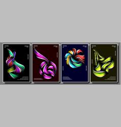 liquid brush poster set multicolored vector image
