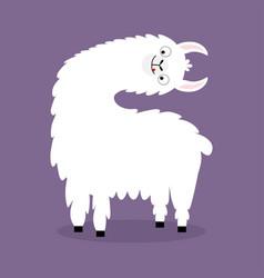 Llama alpaca turning head face cute cartoon funny vector