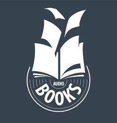 Logo audiobooks fly away sheets vector