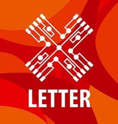 logo letter X in the form chip on a red background vector image