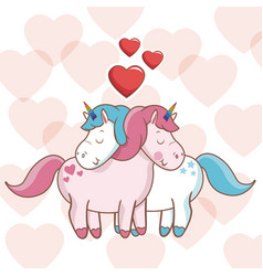 Lovely unicorns together heart decoration design vector