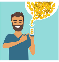Making money with your phone vector