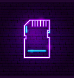 memory card neon label vector image