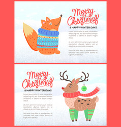 merry christmas holiday banners with fox and deer vector image