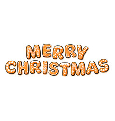 merry christmas text composed of gingerbread vector image