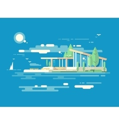 Modern house design flat style vector