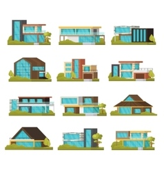 modern suburban houses collection vector image