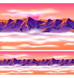 Mountain peaks in clouds vector