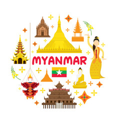 Myanmar travel attraction label vector