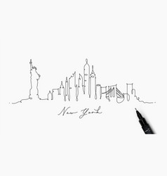 Pen line silhouette new york vector