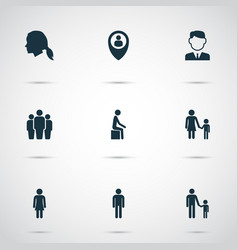Person icons set with male businessman mother vector