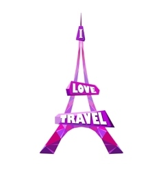 pink Eiffel tower vector image