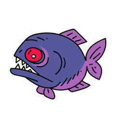 Piranha cartoon hand drawn image vector