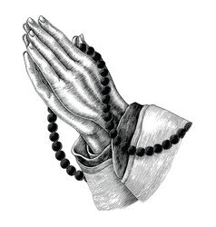 Praying hand drawing vintage clip art isolated on vector