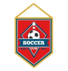 Red soccer pennant isolated white vector image
