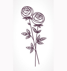roses stylized flower bouquet vector image