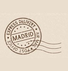 round stamp madrid spain on beige background vector image