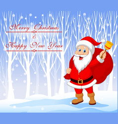 Santa Claus with bell carrying sack with winter vector
