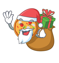 santa with gift pizza mascot cartoon style vector image
