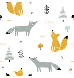 Seamless forest pattern with foxes trees vector