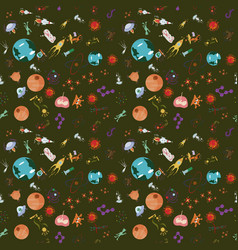 Seamless pattern 4 of childrens drawings in flat vector