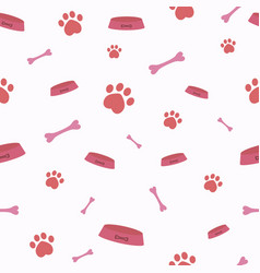 seamless pattern with cartoon bones and paw vector image
