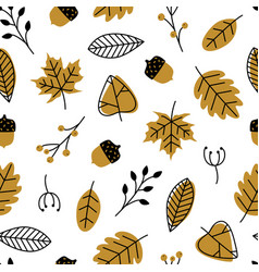 seamless pattern with doodle leaves acorns modern vector image