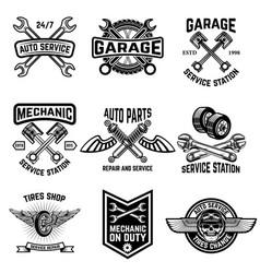 Set auto service emblems service station auto vector
