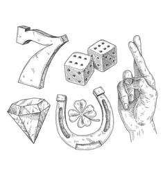 Set lucky symbols vintage hatching monochrome vector