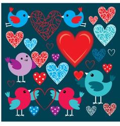 Set of birdies and hearts vector