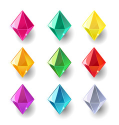 set of cartoon pyramidal different color crystals vector image