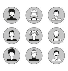 Set of male and female face avatars Design vector