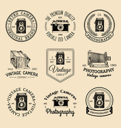 set of old cameras logos vintage photo vector image