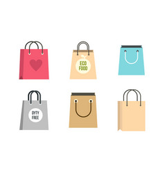 shopping bag icon set flat style vector image