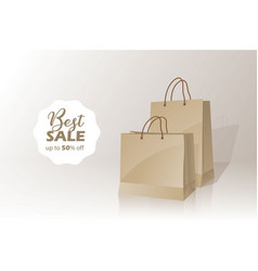 Shopping bag sale banner with 50 off badge vector